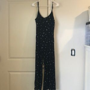 black and white floral print jumpsuit